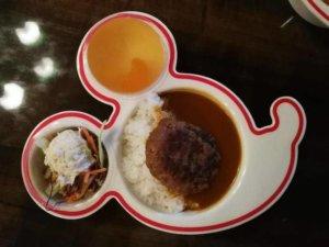 ディズニーランドのお子様カレーのお皿に乗ったリトルベアカレー!