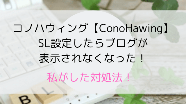コノハウィング【ConoHawing】SL設定したらブログが表示されなくなった!-min
